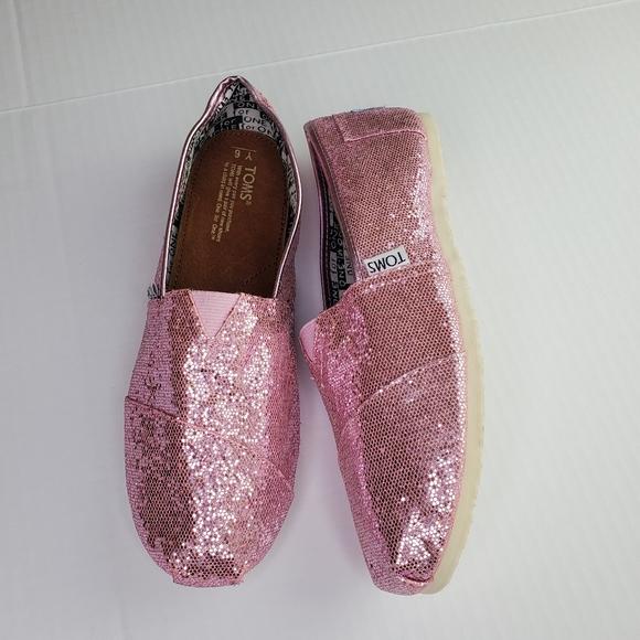 Toms shoes size Y6/women 7.5 pink sparkle